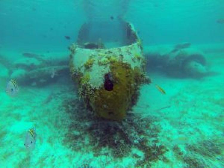Epave d'avion à Norman's Cay aux Bahamas.