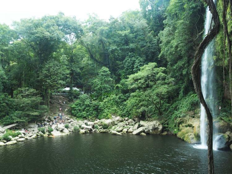 Petit lac au pied de la cascade Misol-Ha proche de Palenque, au Mexique.