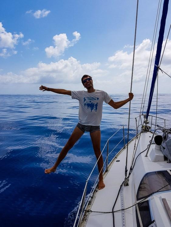 Damien heureux que la navigation se termine, proche du Panama.