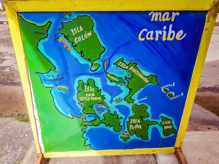 Carte de l'archipel de Bocas del Toro.
