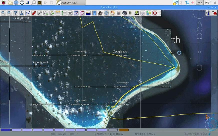 Vue satellite du sud est de l'atoll de Fakarava.