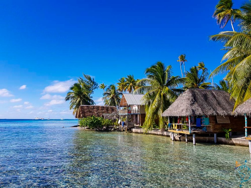 Le motu Tetamanu avec son resort et ses bungalows les pieds dans l'eau.