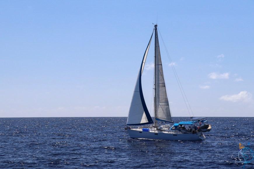 Manwë naviguant au portant vers l'atoll de Fakarava.