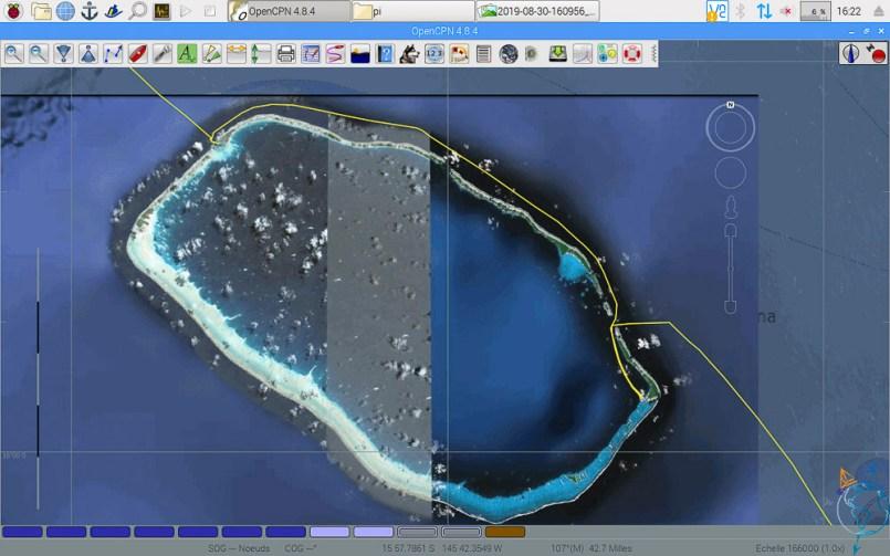 Vue satellite de nos routes autour et dans l'atoll de Toau.