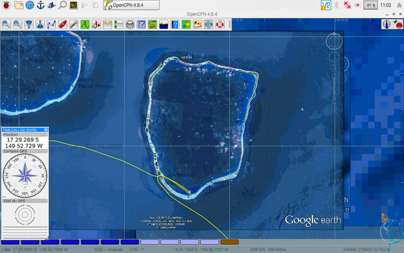Vue satellite de l'atoll d'Apataki aux Tuamotu.
