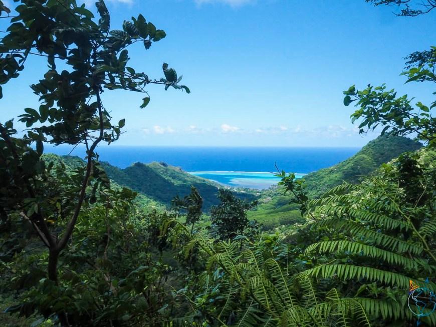 La vue sur le lagon de Moorea vers l'ouest, depuis le col des 3 cocotiers.