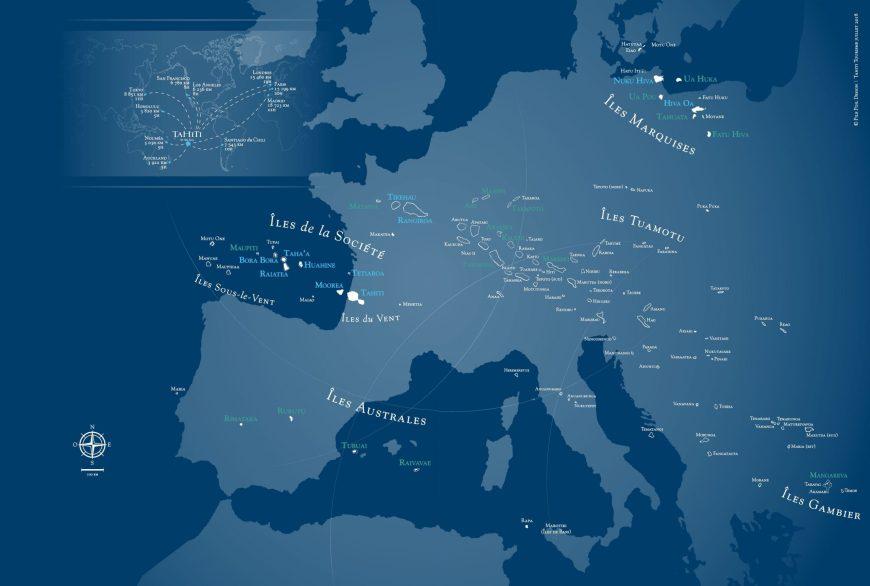Carte de la Polynésie française, vaste comme l'Europe.