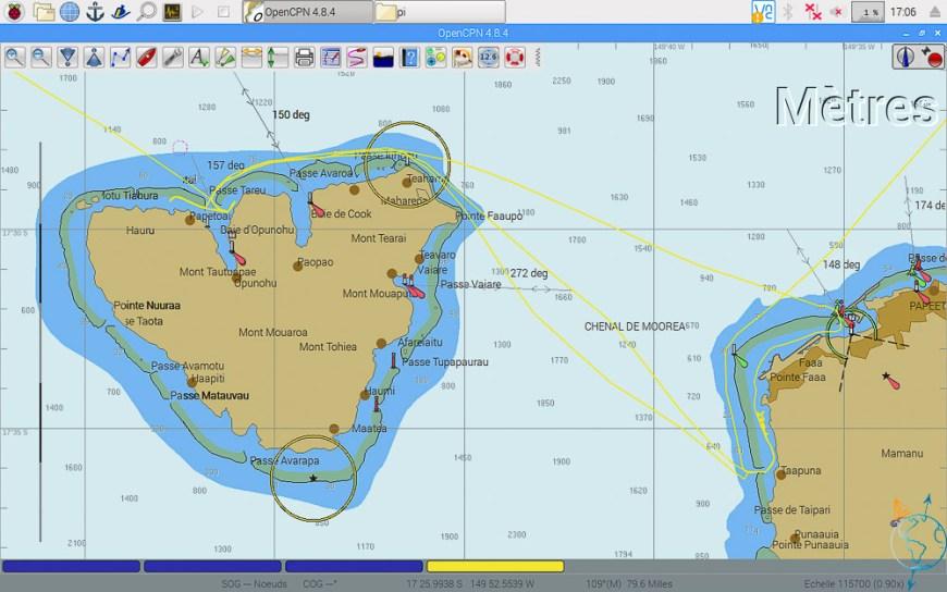 Trajets entre Moorea et Tahiti sur OpenCPN.