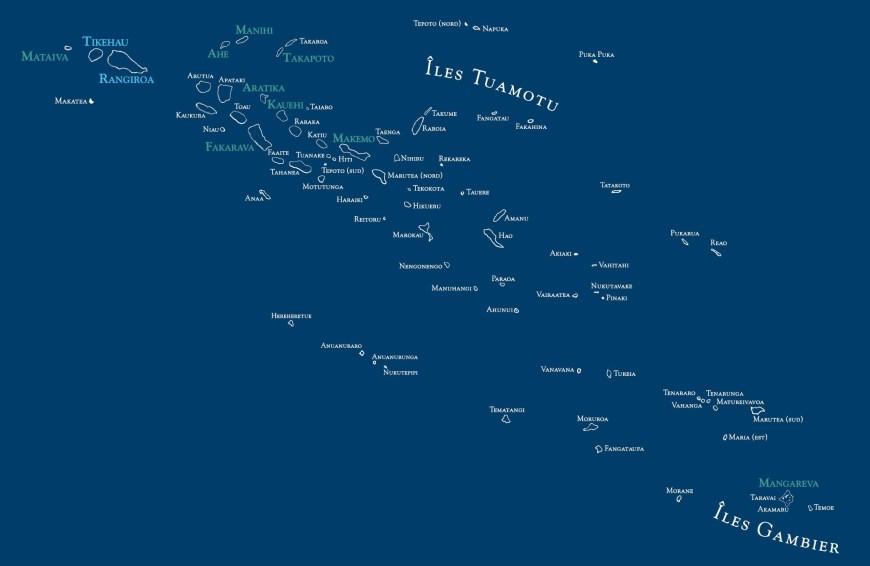 Carte des îles Tuamotu Gambier.