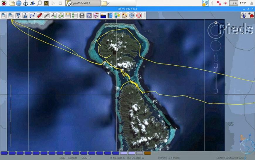 Vue satellite du double lagon de Raiatea et Taha'a.