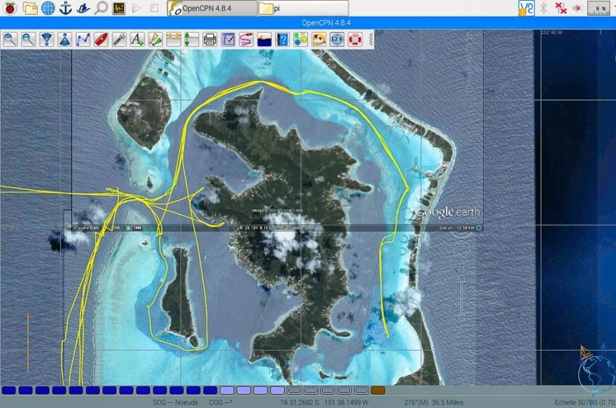 Vue satellite de l'île de Bora Bora, avec notre trace en voilier.