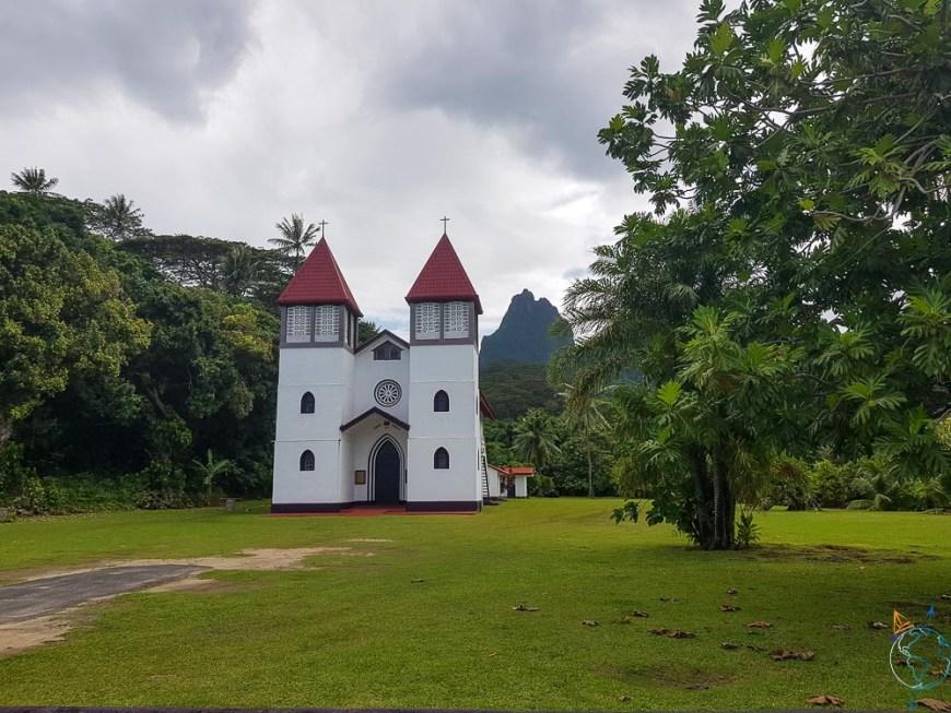 La belle église de la baie d'Haapiti à Moorea.