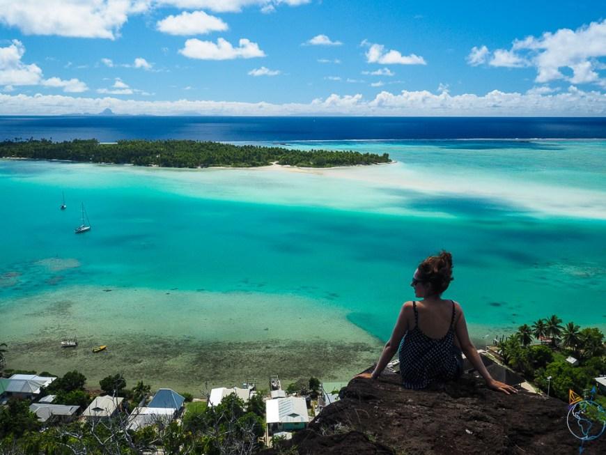 Point de vue depuis le sommet du volcan de Maupiti.