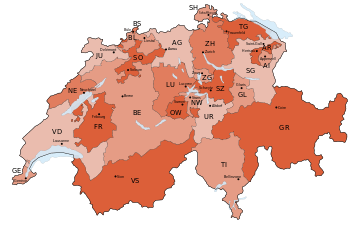 English: Map of Switzerland, showing cantons, ...