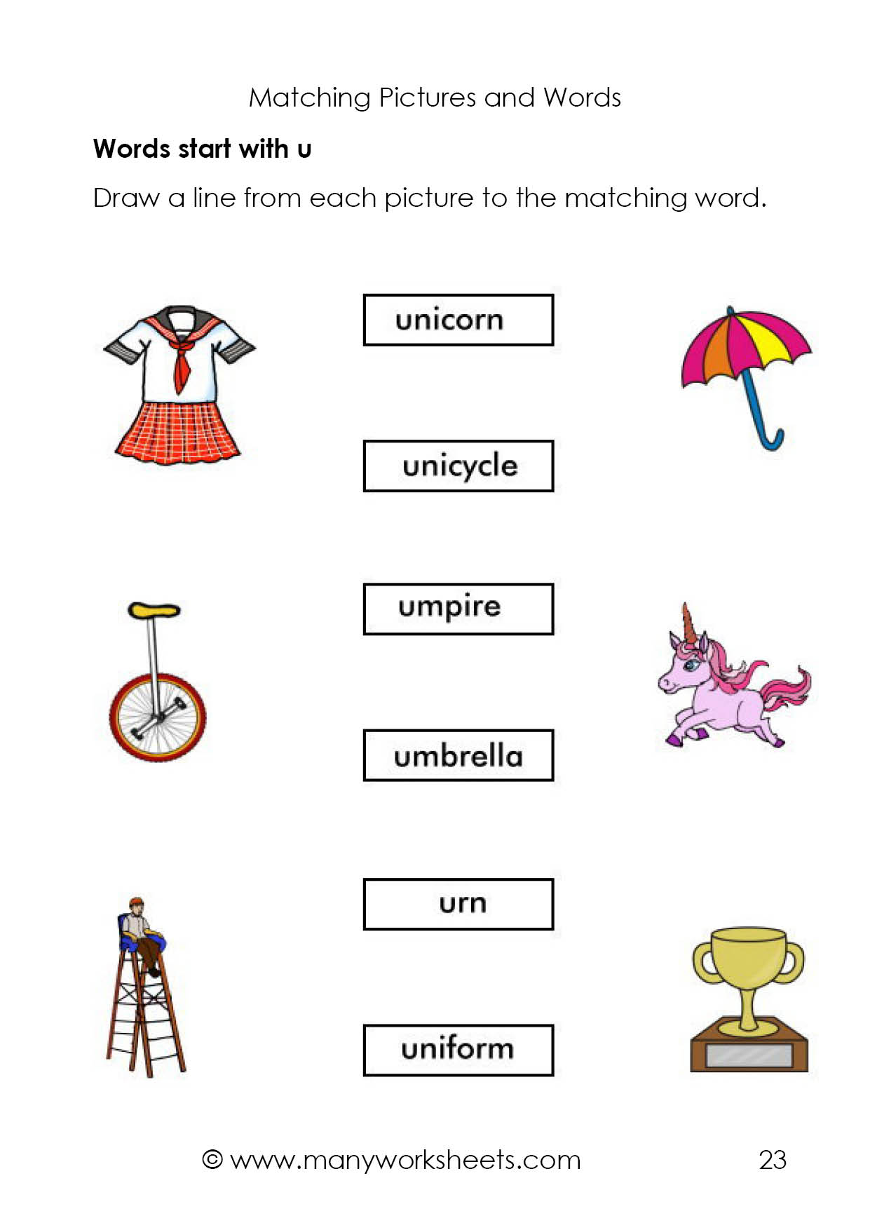 Matching Pictures And Names Start With Letter U