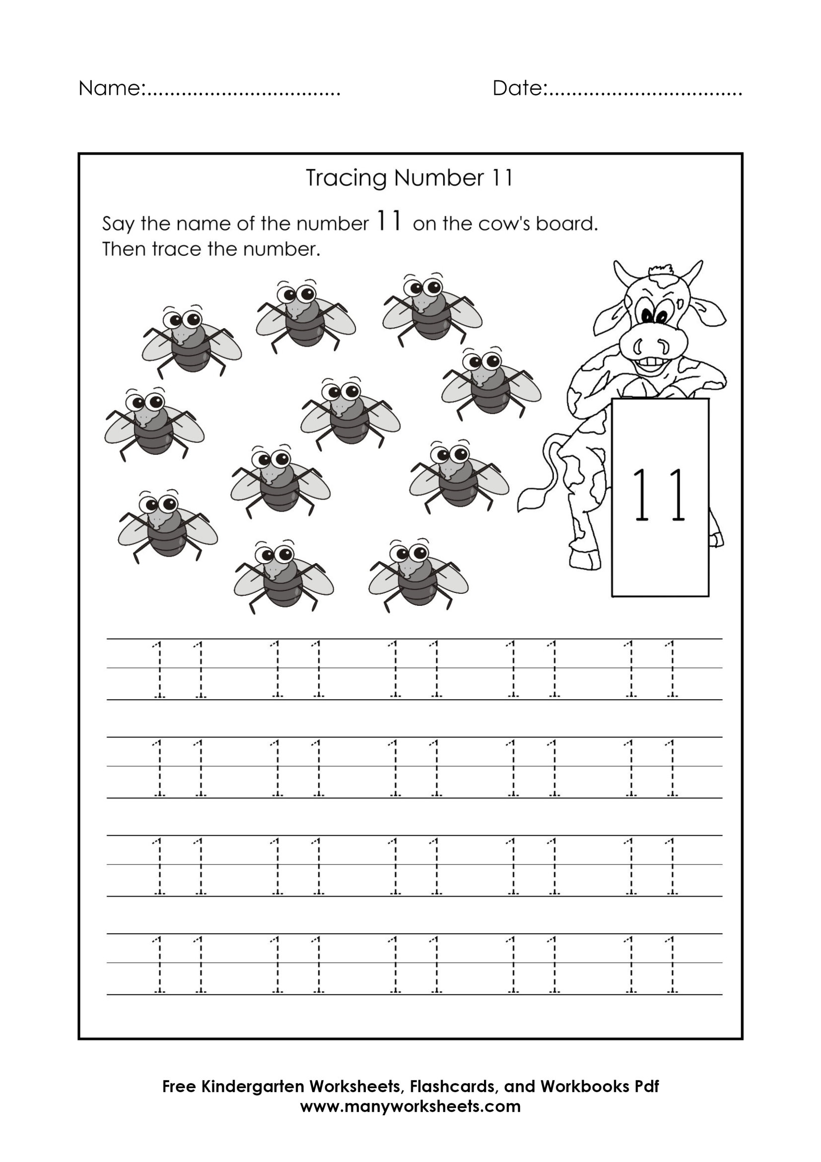 Tracing Number 11 Worksheets