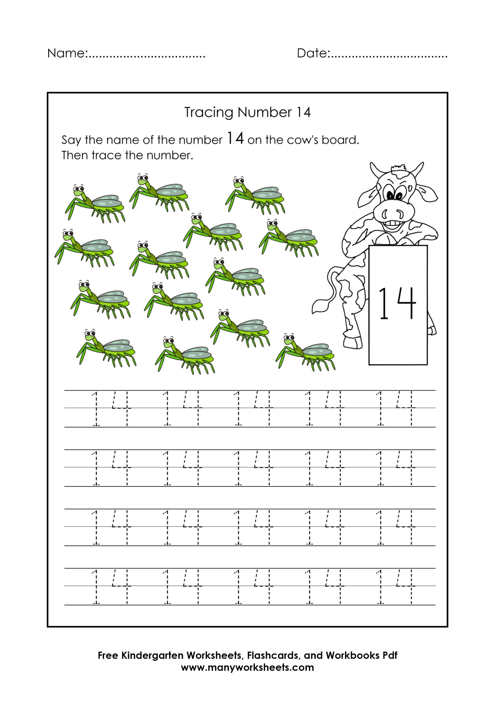 Tracing Number 14 Worksheets