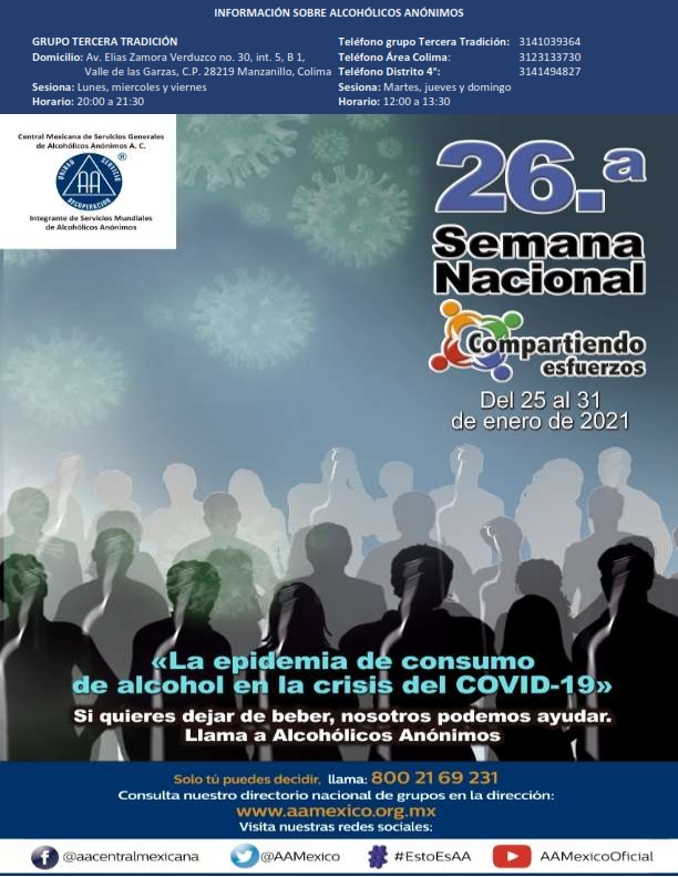 """Realizarán la 26° Semana Nacional Compartiendo Esfuerzos: """"La pandemia del consumo del alcohol en la crisis del COVID-19"""""""