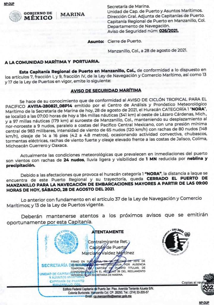 Cierran el Puerto de Manzanillo a embarcaciones mayores por
