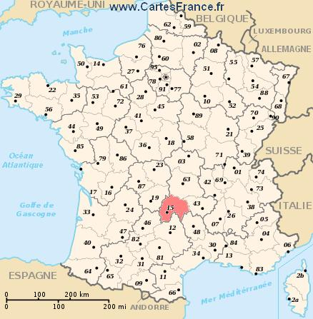 CANTAL Map Cities And Data Of The Departement Of Cantal 15