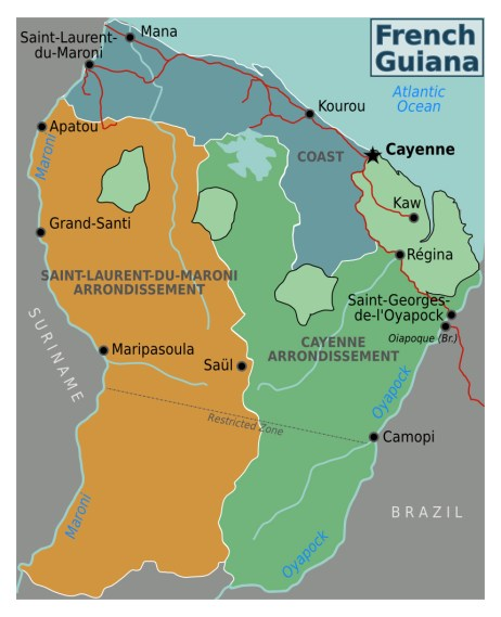map french     detailed regions map of french guiana