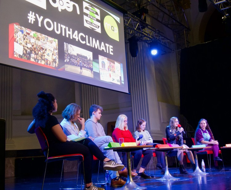 Young people from Norwich Youth Advisory Board onstage at the Norfolk Young People's Climate Change Conference.