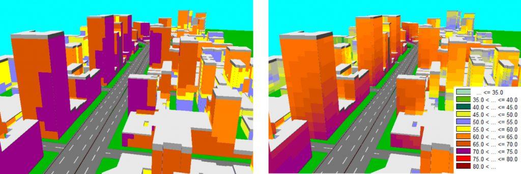 Redução sonora nas residências lindeiras ao Elevado (na esquerda: situação de trânsito atual; na direita: situação na ausência do tráfego do Minhocão)
