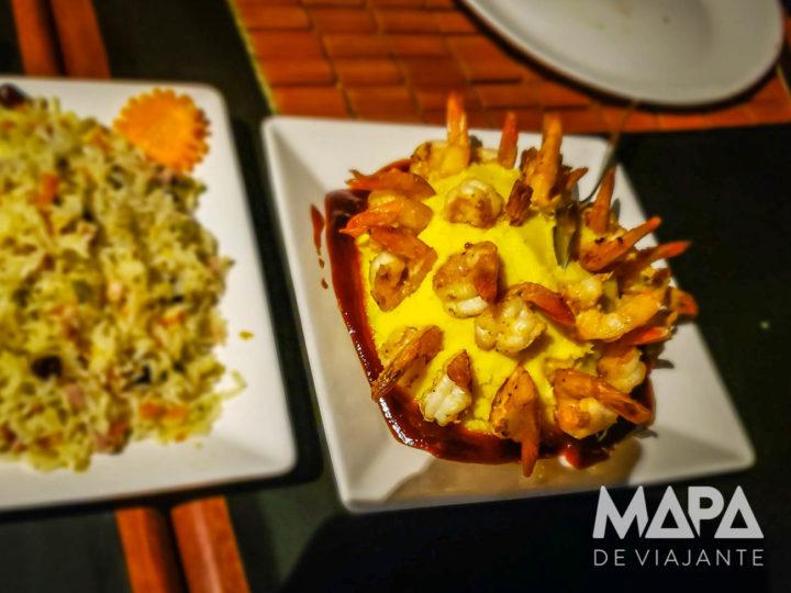 Camarão com purê do Bambaê - onde comer nos Lençóis Maranhenses