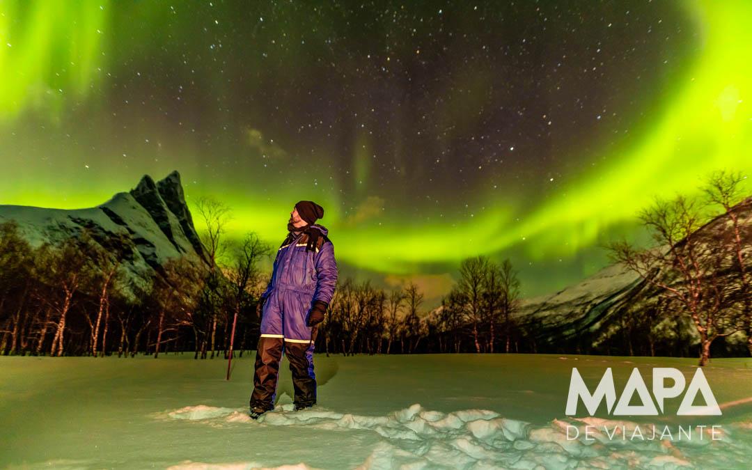 Mapa de Viajante Aurora Boreal Tromso Noruega onde viajar janeiro