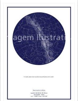 imagem do poster azul com fundo branco do mapa do meu céu personalizado para presente para recem nascido