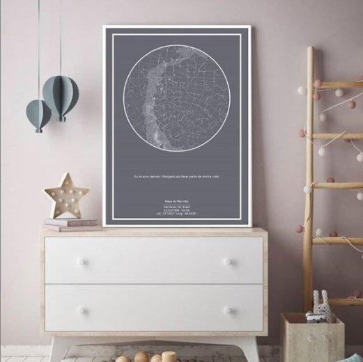 imagem do poster cinza do mapa do meu céu personalizado para presente para decoração de quarto de bebe