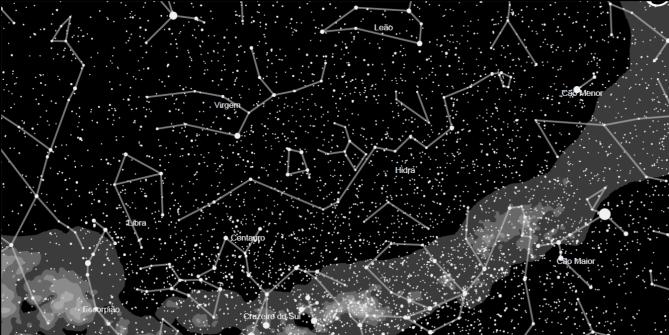 mapa do meu céu detalhe das constelações e via lactea