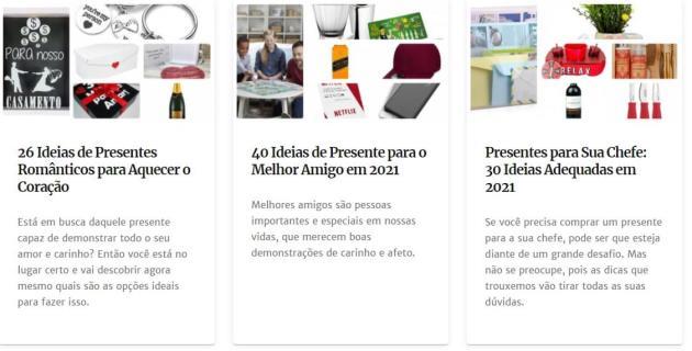 exemplos de categorias do site ideias de presente