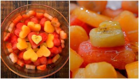 Frutas cortadas em formato de coração