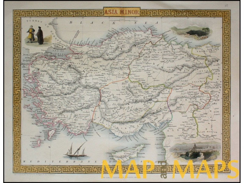 OTTOMAN ANTIQUE MAP OF ASIA MINOR INCLUDED CYPRUS BY TALLIS RAKIN     Antique map of Asia Minor included Cyprus by Tallis Rakin 1851  Loading zoom