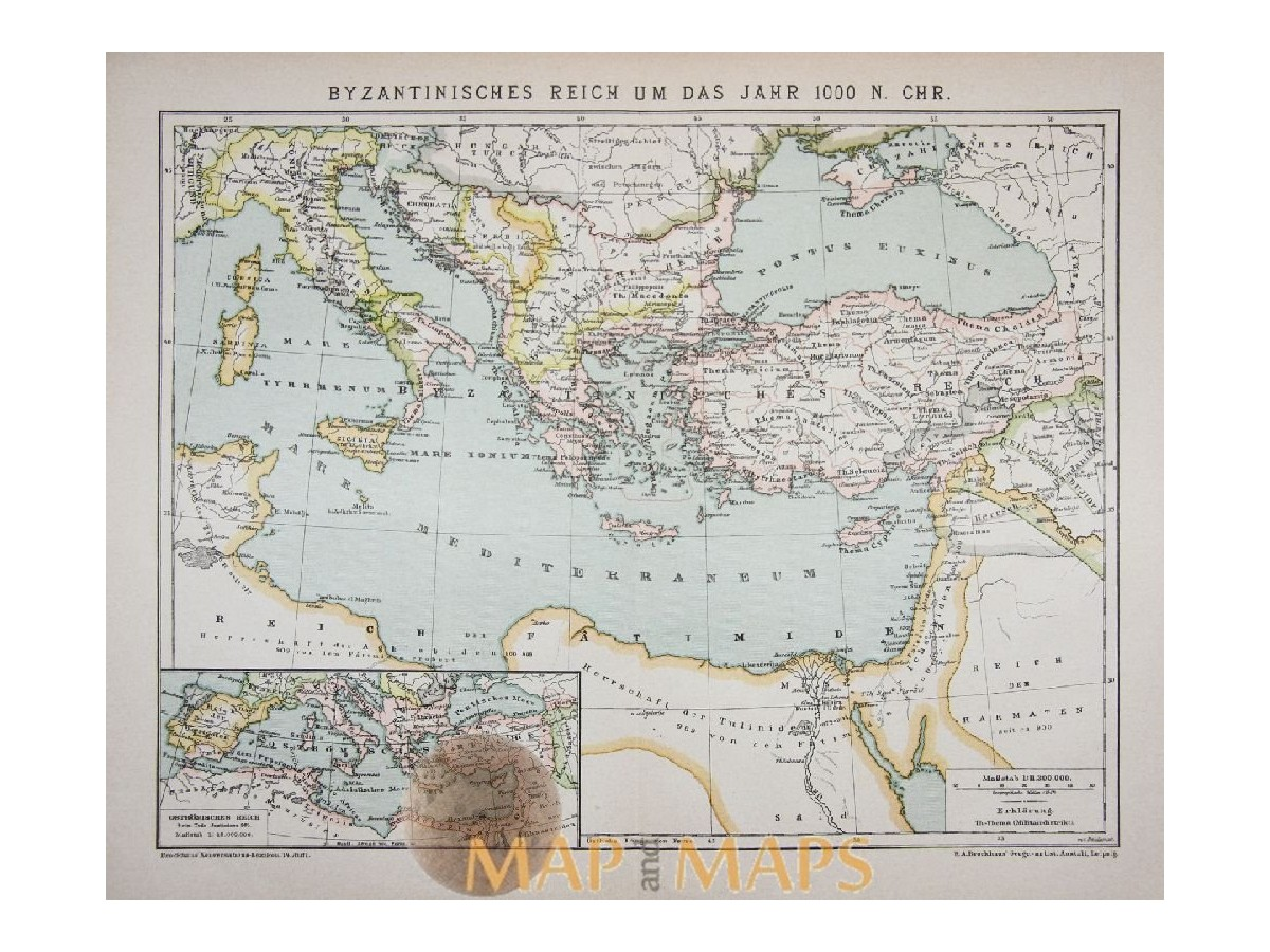 Old Map Byzantine Empire Africa Europe