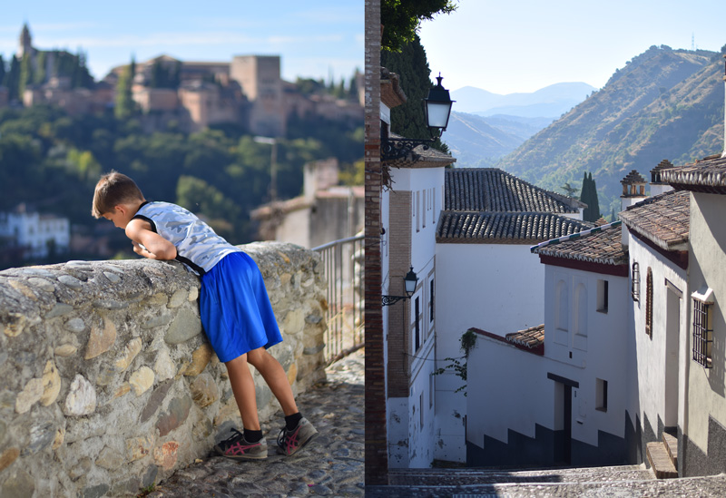 Granada Spain travel image of a boy hiking through the Sacromonte and up into the hills above the Alhambra