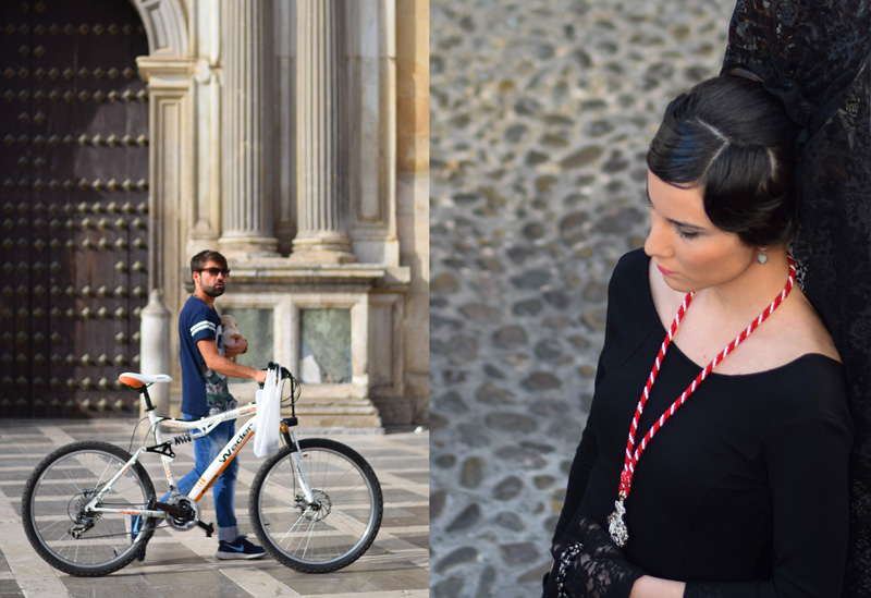 Image of Granada Spain travel including a bicyclist in Plaza Nueva and a women dressed in black for Semana Santa