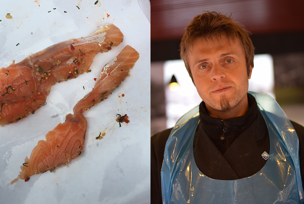 Photos of a man selling fish at Torget Fish Market in Bergen Norway and two slices of fresh salmon on parchment paper.