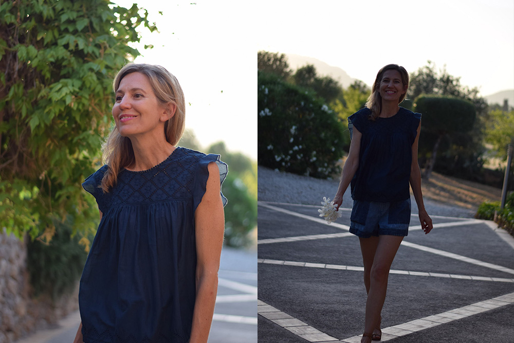 Photos of a women walking on a farm in Mallorca Spain