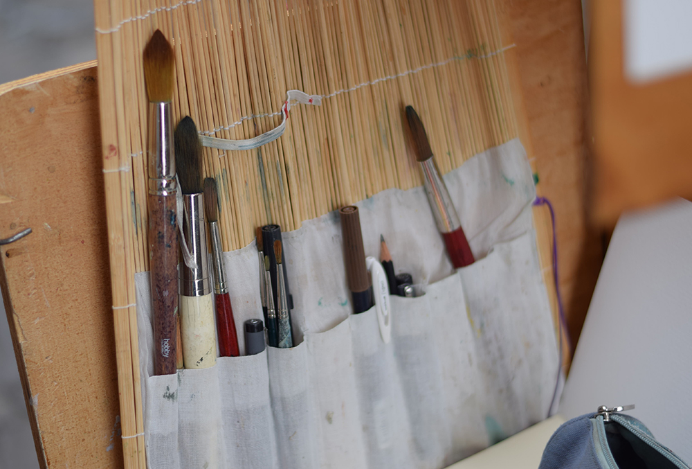 a photo of an artist's paintbrushes in Florence, Italy
