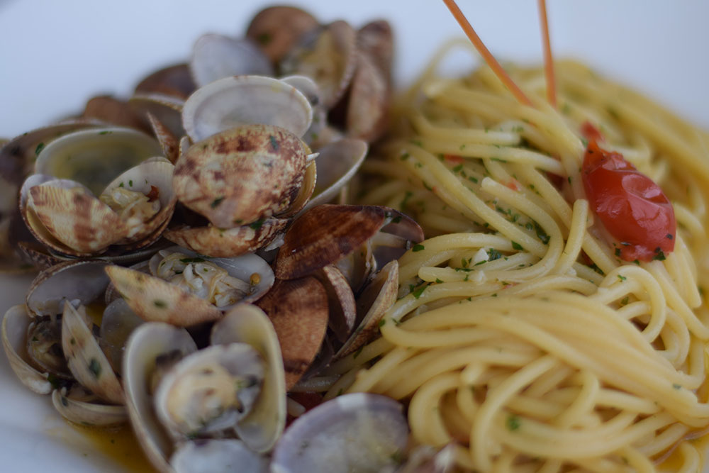 Photo of a plate of clams with linguini in Ravello, Italy.