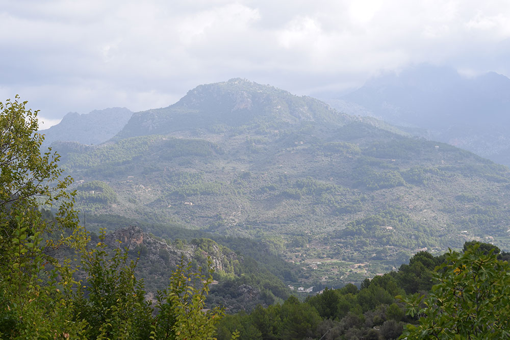 View of the hills surrounding the trail to Finca Son Mico in Mallorca, Spain.