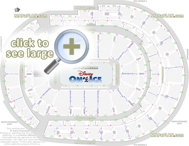 Bridgestone Arena Seat Amp Row Numbers Detailed Seating