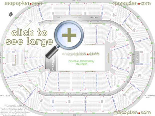 General Admission Ga Floor Standing Concert Capacity Plan Bank Oklahoma Center How Many Seats Row Sections