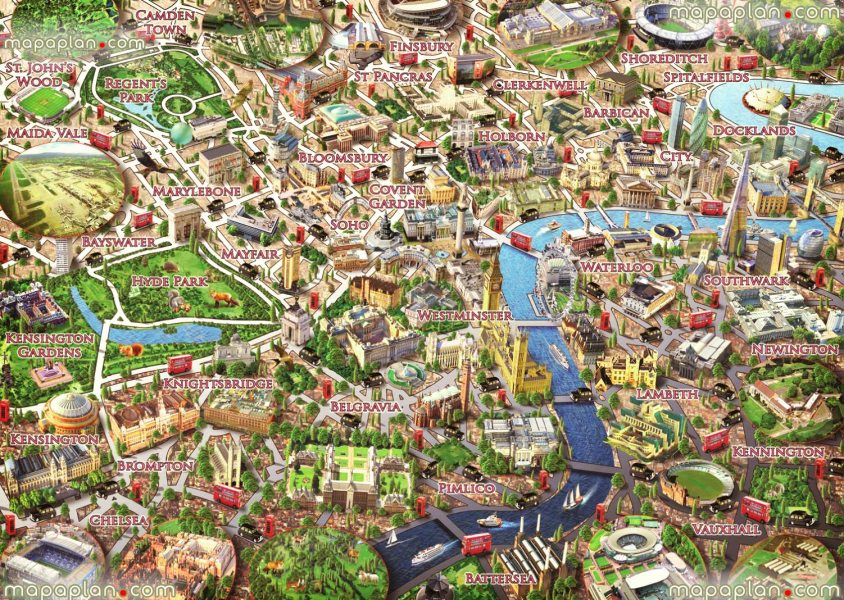 London map   Central London map of neighborhoods   Graphical     central london neighborhoods graphical colorful 3d puzzle drawing children  London top tourist attractions map