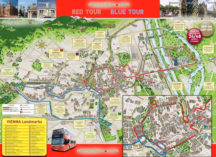 Vienna map   Hop on hop off bus map of Vienna sightseeing tour     hop hop off bus vienna sightseeing tour double decker open top red couch  visitors plan tour