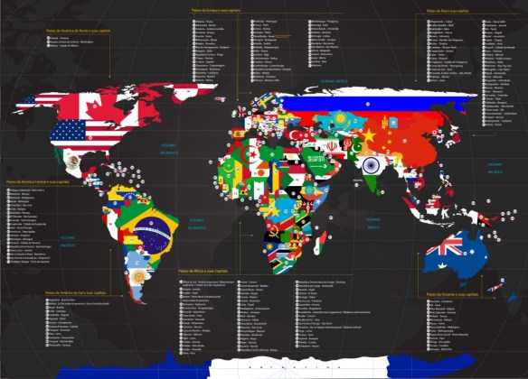 Mapa Mundi Bandeiras dos Países