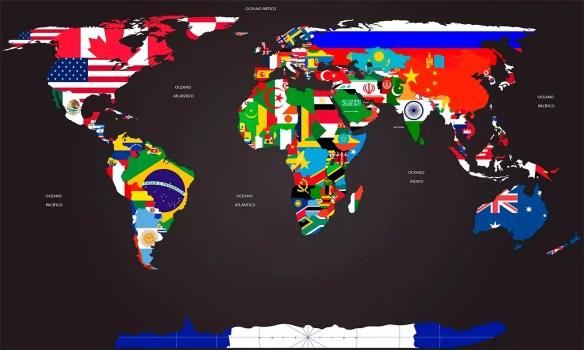 papel de parede mapa mundi com bandeiras dos países