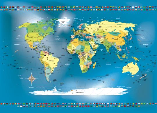 Mapa Mundi Politico em Papel de Parede personalizado com animais e bandeiras